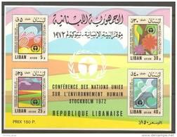 Lebanon Liban 1974 Block S/S UN Conference On Human ENVIRONMENt MNH Flower Souvenir Sheet - Lebanon