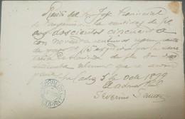O) 1898 PHILIPPINES, REVOLUTIONARY GOVERNMENT SAN CARLOS, PANGASINAM WITH RECEPTION BLUE CIRCULAR MARK DAGUPAN, XF - Philippines