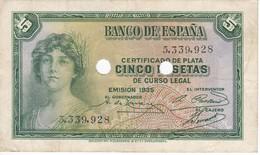 BILLETE DE ESPAÑA DE 5 PTAS DEL AÑO 1935 SIN SERIE CON PERFORACIONES DE ANULACION (BANKNOTE) - [ 2] 1931-1936 : Republic
