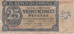 BILLETE DE ESPAÑA DE 25 PTAS DEL 21/11/1936 SERIE R CALIDAD  RC (BANKNOTE) - 25 Pesetas