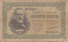 BILLETE DE ESPAÑA DE 50 PTAS DEL 9/01/1940 SERIE C CALIDAD  RC (BANKNOTE) - [ 3] 1936-1975 : Régence De Franco