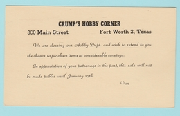 OM.5 USA Postal Stationery/Entier Postal Crump's Hobby Corner  Fort Worth 19.1.57 - 1941-60