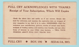 OM.5 USA Postal Stationery/Entier Postal   Full Cry Acknowledges With Thanks.  Sedalia 10.8.56 - 1941-60
