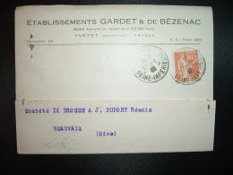 CP TP PAIX 80c OBL.23-3-40 YVETOT SEINE INFERIEURE (76 SEINE-MARITIME) Eta GARDET & DE BEZENAC - Postmark Collection (Covers)