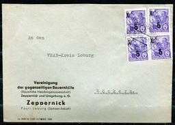 "DDR,GDR 1955 Bedarfsbrief/Cover Mit Mi.Nr.435 (overprint,Typ ?) Und Tagesstempel ""Loburg,Bz.Magdeburg"" 1 Beleg - Covers"