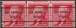 Etats Unis Thomas Jefferson Precancel Sc 1055  SAN ANTONIO TEXAS Coil Line  Partial Plate - United States