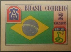 O) 1945 BRAZIL, CARDBOARD PROOF, BRAZILIAN FLAG AND SHOULDER PATCHES, SCOTT A228, 2 CRUZEIROS, XF - Brazil