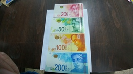 Israel-4 Bank Note-(20,50,100,200)-(information +picture In Folder)-U.N.C - Israel