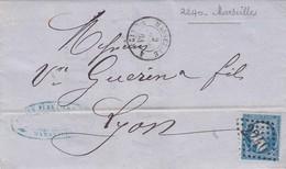 FRANCE - LETTRE CLASSIQUE MARSEILLE POUR LYON 2 JUIN 64 / 1 - Postmark Collection (Covers)
