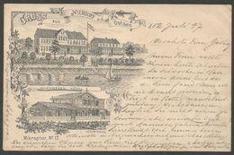 Gruss Aus Niendorf A.d. Ostsee, Lithokarte Aus 1897 Mit Johannsen's Hotel Und Logirhaus, Mikrophon No. 17 - Timmendorfer Strand