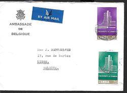 ! -  Zambie - Lettre Avec 2 Timbres (MI 28/29 Ou SC 28/29) - Envoi Vers Liège (Belgique) - Zambie (1965-...)