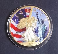 1 Pièce Plaquée OR ( GOLD Plated Coin ) - 2017 Statue Of Liberty Washington DC - Coins