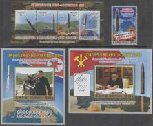 MILITARY INDUSTRY , 2017, MNH,MISSILES, LAUNCHING OF MISSILE, MOUNTAINS, 1v+ SLT+ 2 S/SHEETS - Usines & Industries