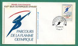 Enveloppe Premier Jour 1er Fdc Jeux Olympiques D'hiver 1991 Paris - 1990-1999