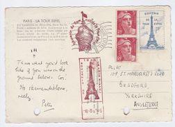 1946 FRANCE COVER With EIFFEL TOWER SOUVENIR LABEL (postcard Eiffel Tower) Stamps Marianne De Gandon - France