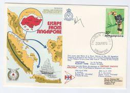 1976 SIGNED SINGAPORE AIR FORCE Special FLIGHT COVER WII Anniv Via HONG KONG  Stamps Bird Birds Aviation  China - WW2