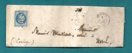 Corrèze - Treignac Pour Ussel. CàD Type 15 + GC. 1868 - Postmark Collection (Covers)