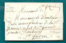 Haute Marne - St Dizier Pour La Manufacture De La Verrerie Royale De St Quirin Proche Sarrebourg. LAC De 1775 - Marcofilie (Brieven)