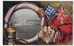 "S. S. ""KINGSTON"", Toronto To Montreal, Life Saver Series, 1909 Patriotic Postcard Canada - Steamers"