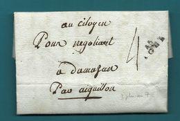 Lot Et Garonne - Agen Pour Damazan Par Aiguillon. LAC De L'AN VII - Marcophilie (Lettres)
