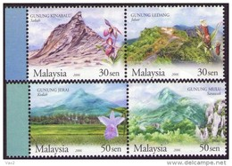 Malaysia 2006 S#1087-1088 Mountain MNH Carnivorous Plants Flower Orchid Unusual (embossed) - Malaysia (1964-...)