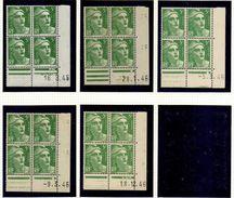 L033N°719 - 5f Vert Marianne De GANDON 1ère Série - Lot De 5 Coins Datés ** (1 Timbre Avec Rousseur) - Dated Corners