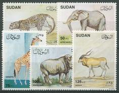 Sudan 1990 Wildtiere Nashorn Giraffe Elefant 417/21 Postfrisch - Sudan (1954-...)
