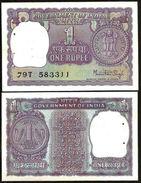 India 1 Rupee 1977 UNC (steppler Hole) - India