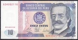 Peru:- 10 Intis/P.129 (1987):- UNC - Peru