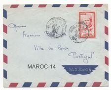 FEDALA PL. DE LA GARE:  50f S. M. MOHAMED V / PAR AVION /  / LETTRE EN PORTUGAL / CAIXA #11 - Morocco (1956-...)