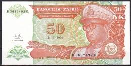 Zaire:- 50 Nouveaux Makuta:- P.51 (1993):- UNC - Congo