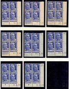L035N°812 - 12f Outremer - Marianne De GANDON - Lot De 8 Coins Datés ** Et * (1 CD Avec Rousseur Et 1 CD *) - Unclassified