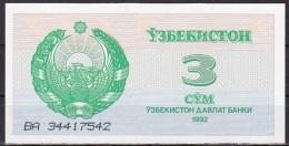 Uzbekistan:- 3 Sum/P.62 (1992):- UNC - Uzbekistan