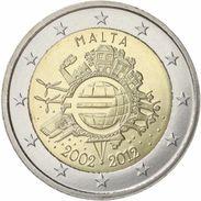 2 € Commémorative 10 Ans De L'Euro Malte 2012-UNC - Malta