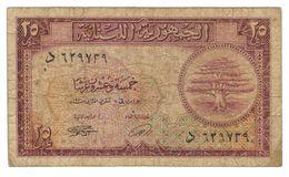 Lebanon 25 Piastres , 1950, Used, See Scan. - Lebanon