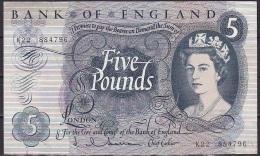 UK/Bank Of England:- 5 Pounds/P.375a (Hollom):- VF - 1952-… : Elizabeth II.