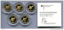 0803 - DEUTSCHLAND - 5 Stück 20 Euro Goldmünzen FICHTE 2012, A-J Komplett - 5 Echtheitszertifikate - Deutschland