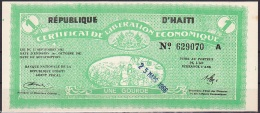 Haiti/Certificate Of Economic Liberation:- 1 Gourd:- EF - Haiti