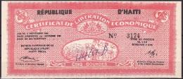 Haiti/Certificate Of Economic Liberation:- 5 Gourdes:- VF (Graffiti) - Haïti