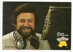 Animateur Radio  RMC-Radio Monte Carlo--José Sacré--sur Carte Publicitaire - Célébrités