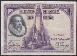 Spain:- 100 Pesetas/P.76 (15-08-1928):- F - [ 1] …-1931 : First Banknotes (Banco De España)
