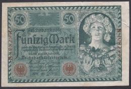 Germany/Weimar:- 50 Mark/P.68 (1920):- F (Tear On Right) - 1918-1933: Weimarer Republik