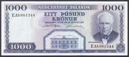 Iceland:- 1000 Kronur/P.46 (Olafsson/Nordal):- EF - Islande