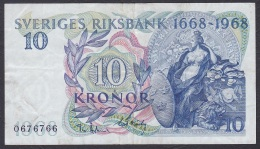 Sweden:- 10 Kronor/P.56a (Commemorative 1668-1968):- F - Suède