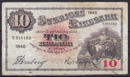 Sweden:- 10 Kronor/P.34v (1939):- VG - Sweden