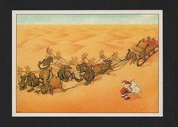 CHRISTMAS ART POSTCARD Year1984 COMIC SANTA CLAUS Map Desert REINDEER SLEIGH Z1 - Comics