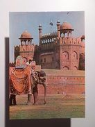 ASIA ASIE INDIA DELHI RED FORT FORTRESS & ELEPHANT ELEPHANTS 1970s POSTCARD Z1 - Postcards