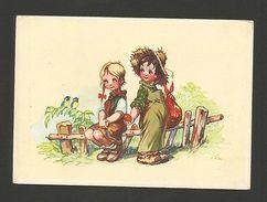 ART POSTCARD 1945/50year LOVELY CHILD GIRL BOY FARMER & FRUITS - GERMANY  Z1 - Comics