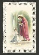 Antique HOLY CARD Vintage Religious Canivet Lace 1st Communion Girl & JESUS Z1 - Unclassified