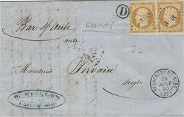 1855- Lettre De ST LAURENT-DE-MURE ( Isère ) Cad T15 Affr. Paire N°13 ( Courte )  + D Boite Rurale De Grenay - Storia Postale